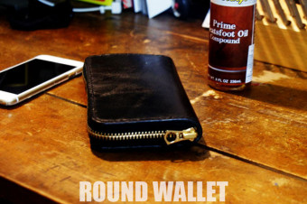 ROUND WALLET BLACK/MOTOJI'S LEATHER